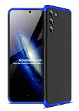 Zore GKK Ays Samsung Galaxy S21 360 Derece Koruma Siyah-Mavi Rubber Kılıf