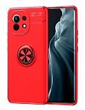 Eiroo Liquid Ring Xiaomi Mi 11 Standlı Kırmızı Silikon Kılıf
