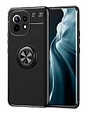 Eiroo Liquid Ring Xiaomi Mi 11 Standlı Siyah Silikon Kılıf