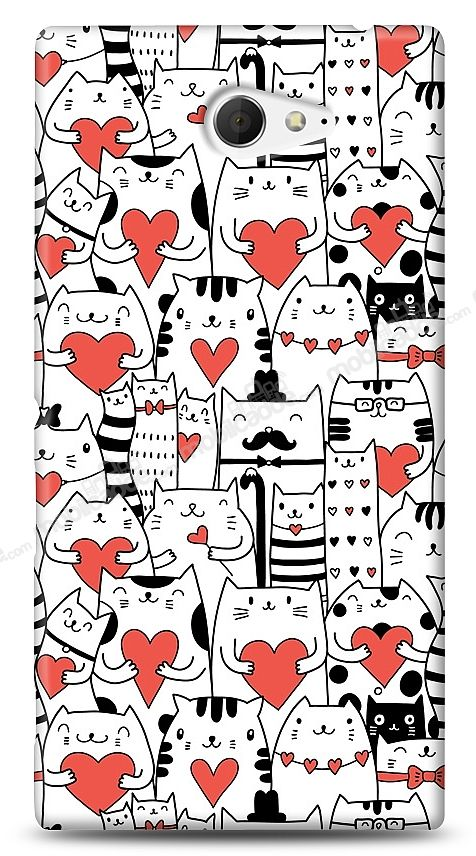 Sony Xperia M2 Love Cats Kılıf