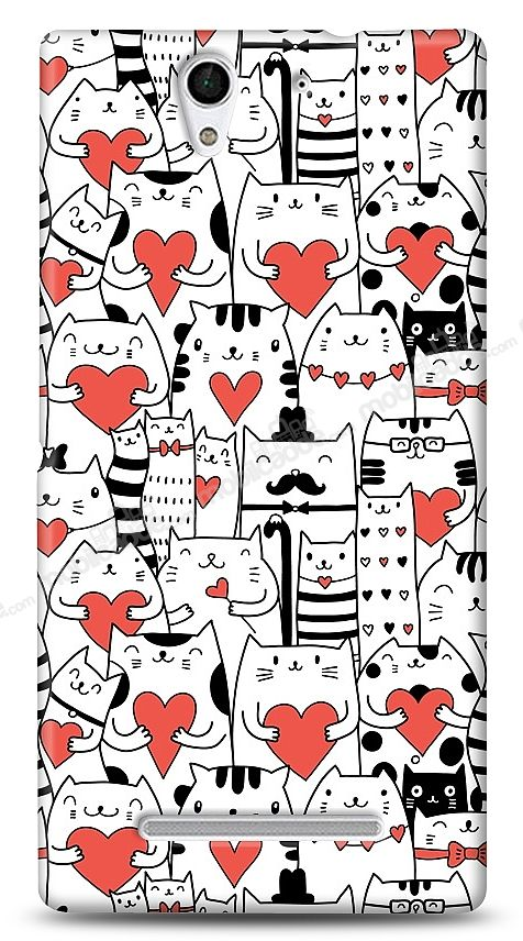 Sony Xperia C3 Love Cats Kılıf