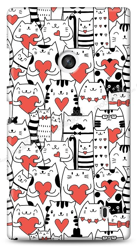 Nokia Lumia 520 / 525 Love Cats Kılıf