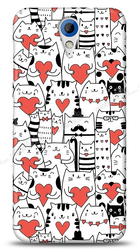 HTC Desire 620 Love Cats Kılıf