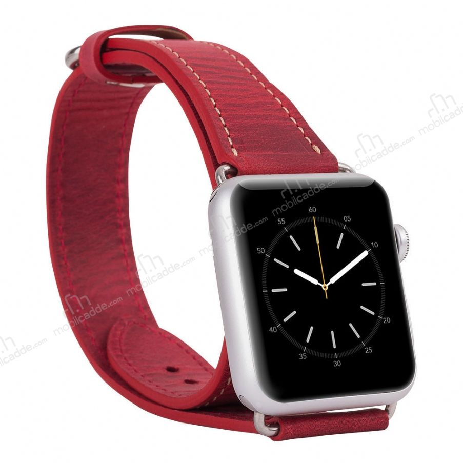 Burkley Apple Watch Çift Tur Antique Red Gerçek Deri Kordon (38 mm)