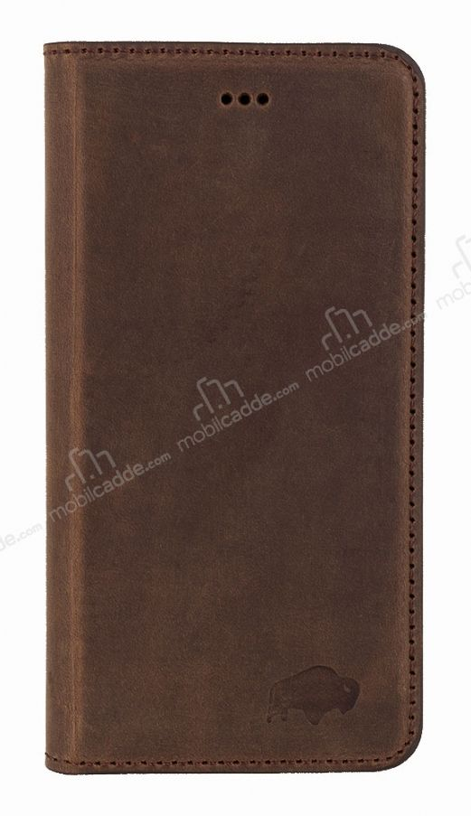 Burkley Book Folio iPhone 6 / 6S Gerçek Deri Antique Coffee Rubber Kılıf