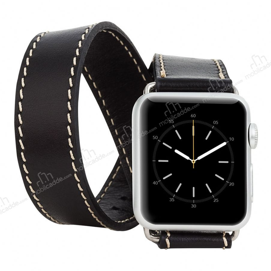 Burkley Apple Watch Çift Tur Rustic Black Gerçek Deri Kordon (42 mm)
