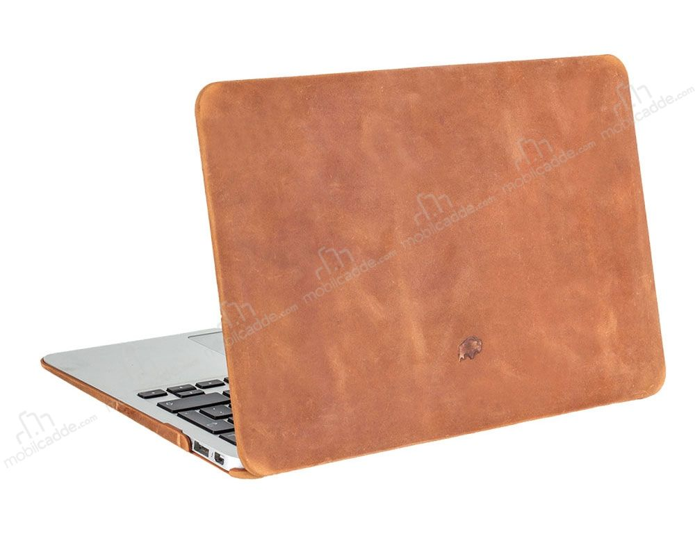Burkley Hardshell Macbook Air 13 inç Antique Camel Gerçek Deri Kılıf