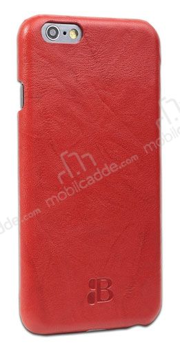 Burkley Snap On iPhone 6 / 6S Gerçek Deri Creased Red Rubber Kılıf