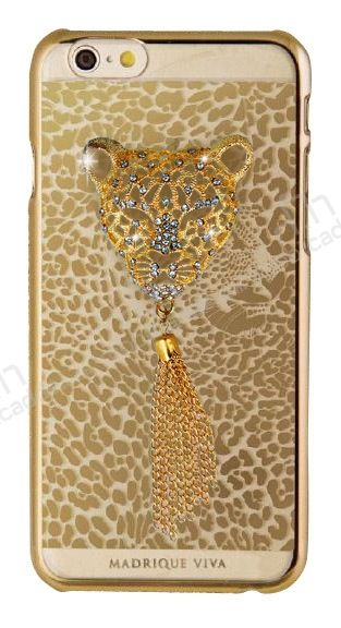 Crystal Dream Metalico iPhone 6 / 6S Leopar Taşlı Kılıf