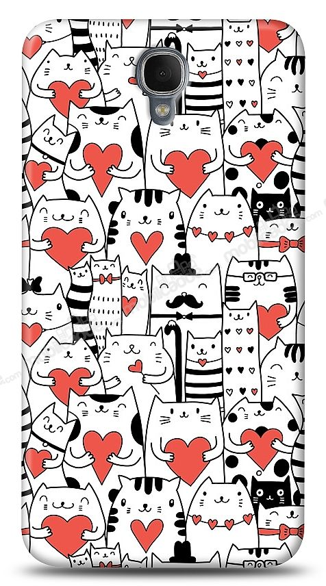Alcatel One Touch idol 2 OT-6037 Love Cats Kılıf