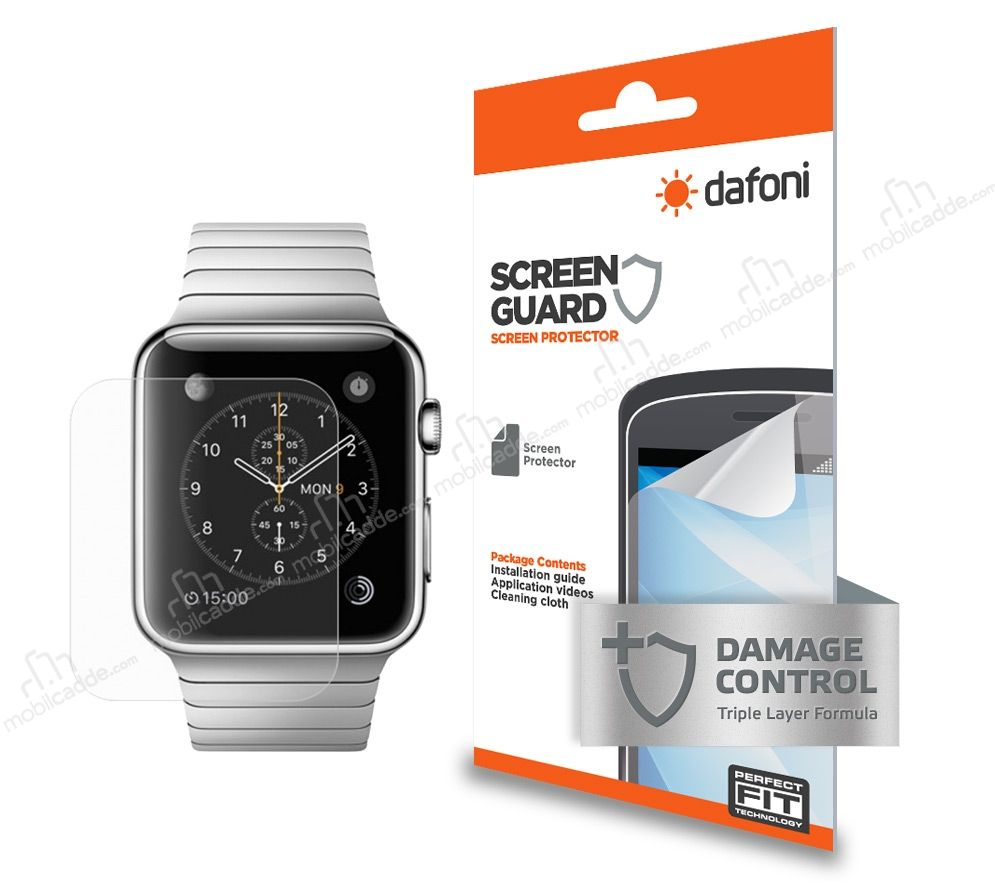 Dafoni Apple Watch / Watch 2 42 mm Ön + Arka Darbe Emici Full Ekran Koruyucu Film