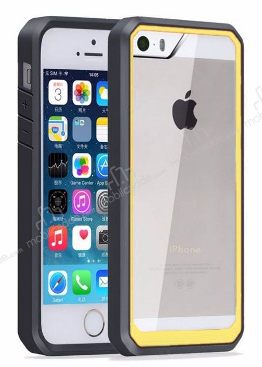 Dafoni Color Side iPhone SE / 5 / 5S Kristal Sarı Kılıf