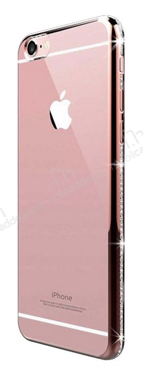 Dafoni Crystal Dream iPhone 6 Plus / 6S Plus Rose Gold Taşlı Kenarlı Silikon Kılıf