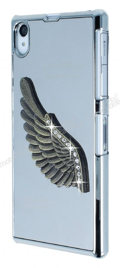 Dafoni Eagle Wings Sony Xperia Z1 Silver Metal Rubber Kılıf