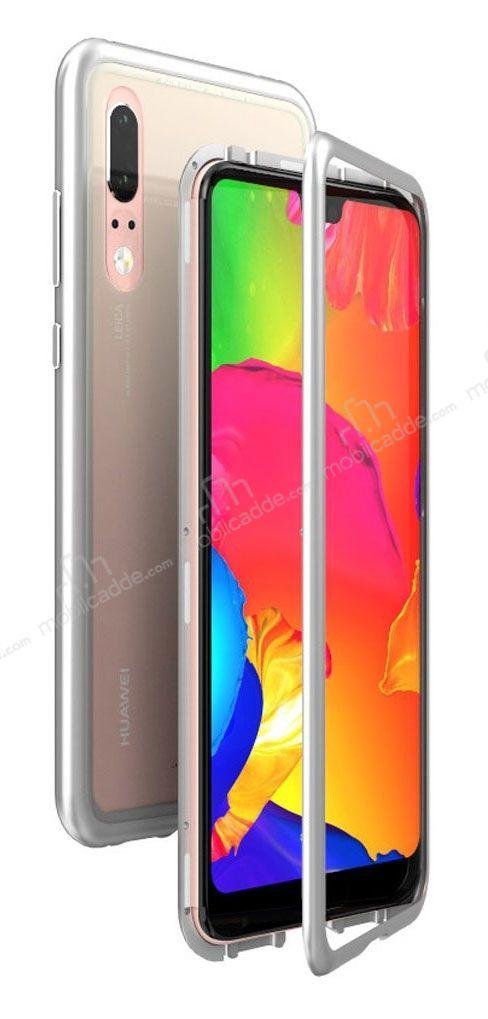 Dafoni Glass Guard Huawei P30 Lite Metal Kenarlı Cam Silver Kılıf
