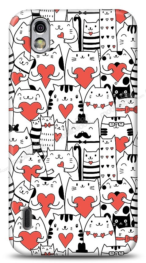 LG Optimus Black Love Cats Kılıf