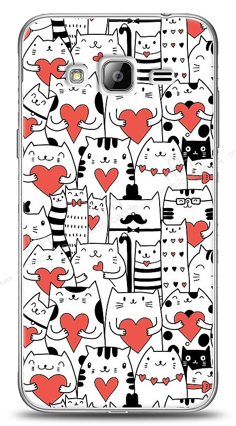Samsung Galaxy J3 2016 Love Cats Kılıf