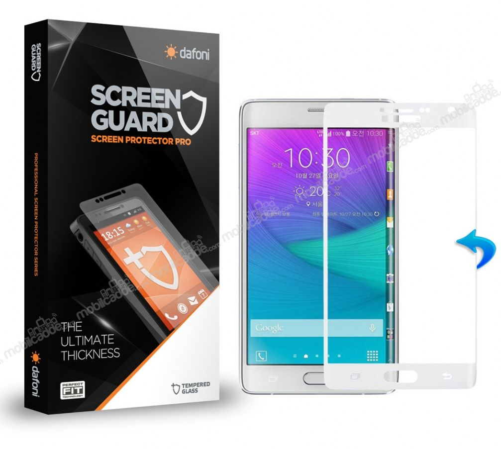 Dafoni Samsung Galaxy Note Edge Curve Tempered Glass Premium Beyaz Cam Ekran Koruyucu