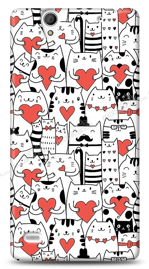 Sony Xperia C4 Love Cats Kılıf