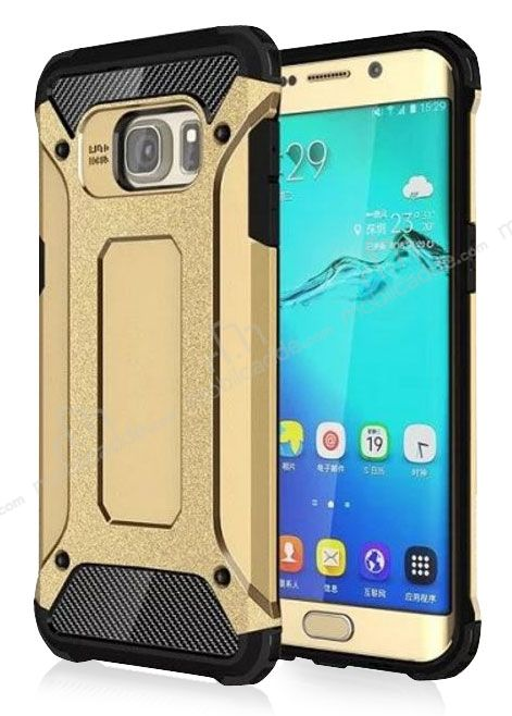 Dafoni Tough Power Samsung Galaxy S6 Edge Ultra Koruma Gold Kılıf
