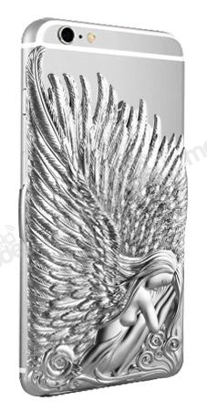 Eiroo Angel Wings iPhone 6 Plus / 6S Plus Çift Katmanlı Silver Rubber Kılıf