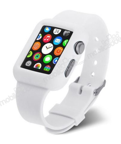 Eiroo Apple Watch / Watch 2 Silikon Kordon Beyaz Kılıf (42 mm)