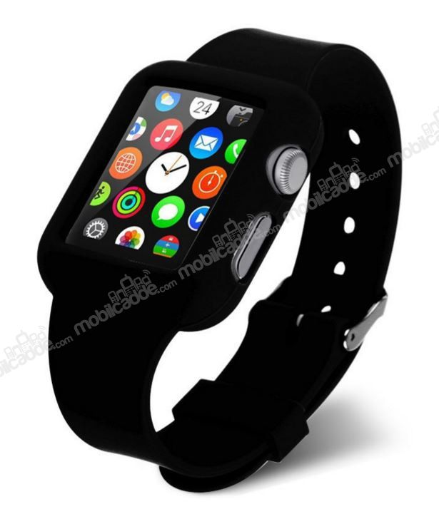 Eiroo Apple Watch Silikon Kordon Siyah Kılıf (38 mm)