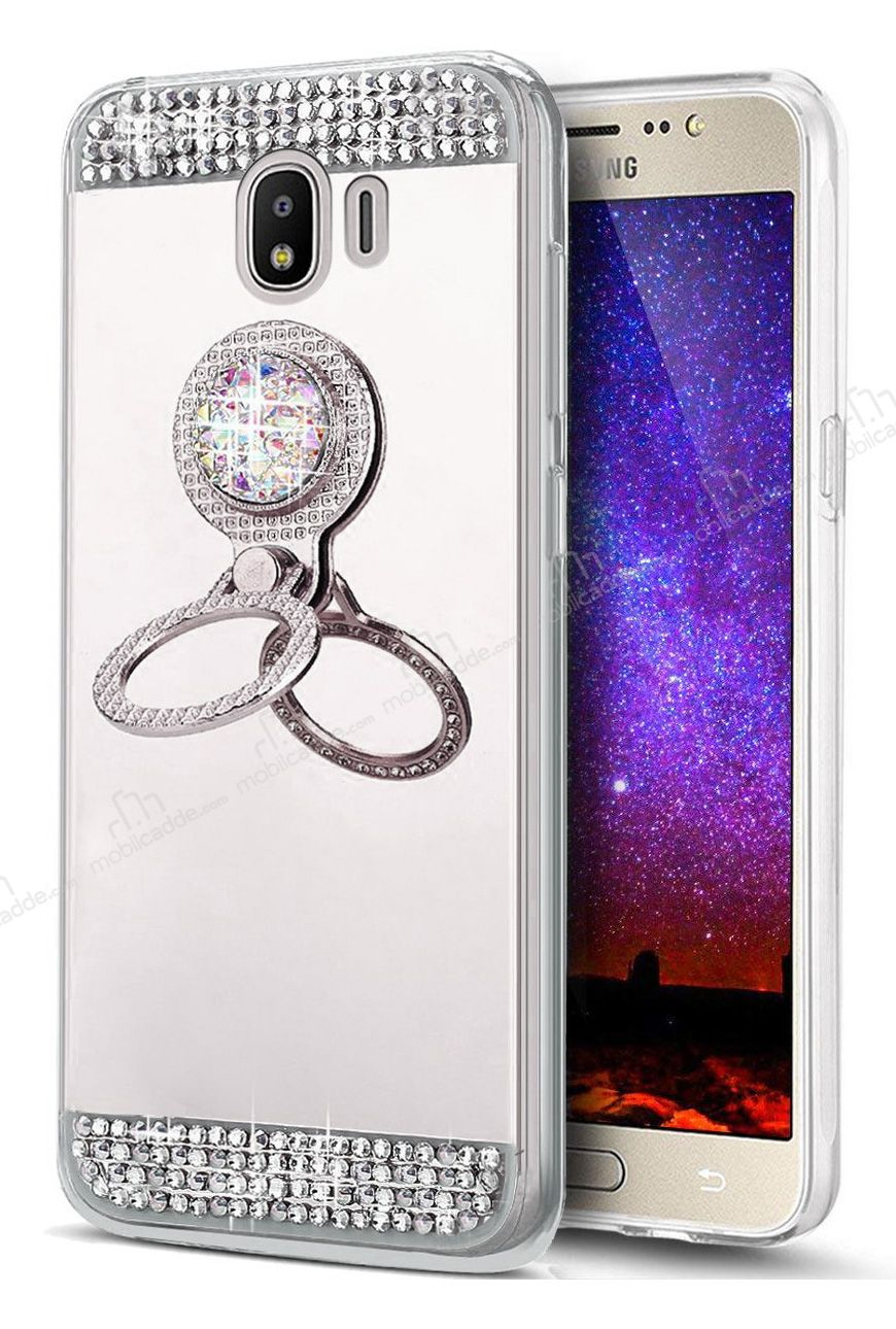 Eiroo Bling Mirror Samsung Galaxy J4 Silikon Kenarlı Aynalı Silver Rubber  Kılıf