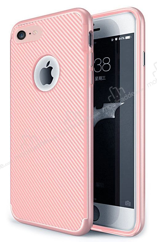 Eiroo Carbon Thin iPhone 7 Ultra İnce Rose Gold Silikon Kılıf