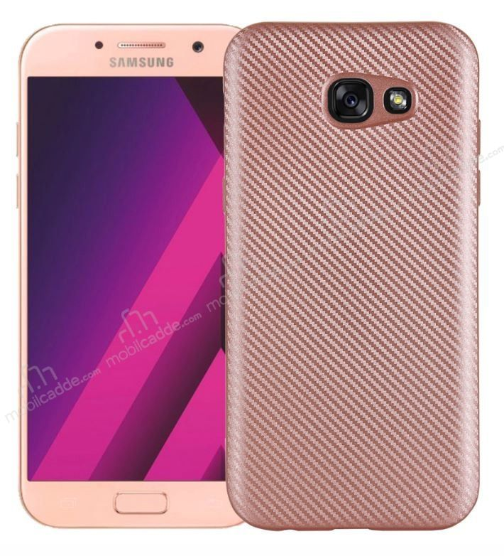 Eiroo Carbon Thin Samsung Galaxy A7 2017 Ultra İnce Rose Gold Silikon Kılıf