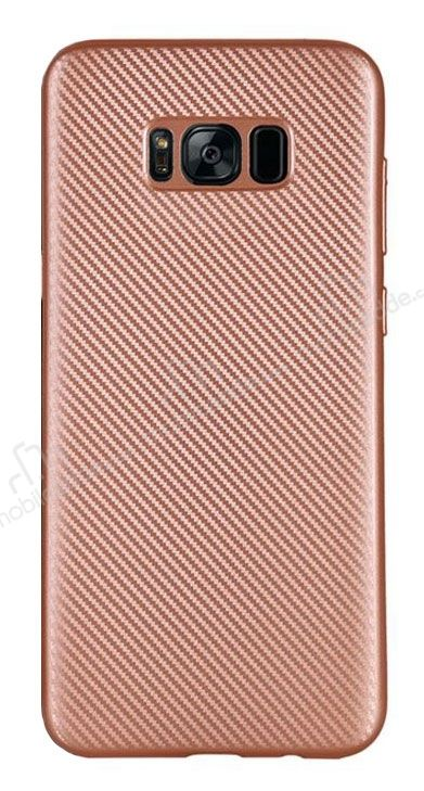 Eiroo Carbon Thin Samsung Galaxy S8 Ultra İnce Rose Gold Silikon Kılıf