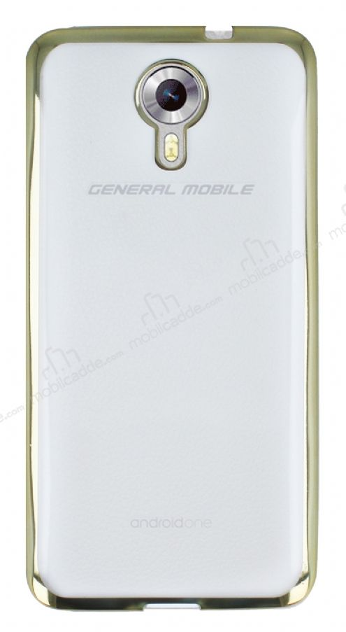 General Mobile Android One / General Mobile GM 5 Gold Kenarlı Şeffaf Silikon Kılıf