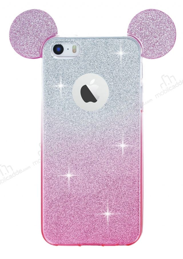 Eiroo Ear Sheenful iPhone SE / 5 / 5S Pembe Silikon Kılıf