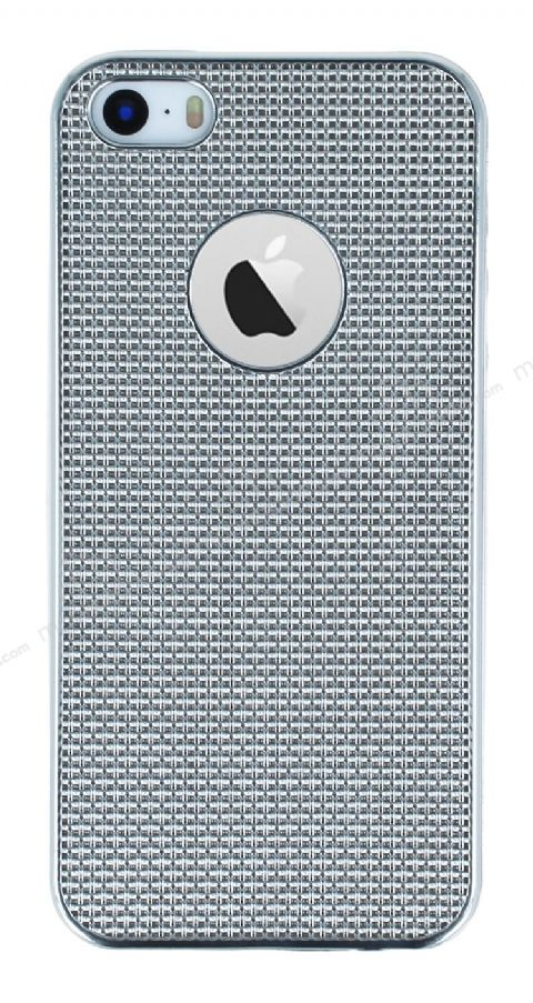 Eiroo Flashy iPhone SE / 5 / 5S Metalik Silver Silikon Kılıf