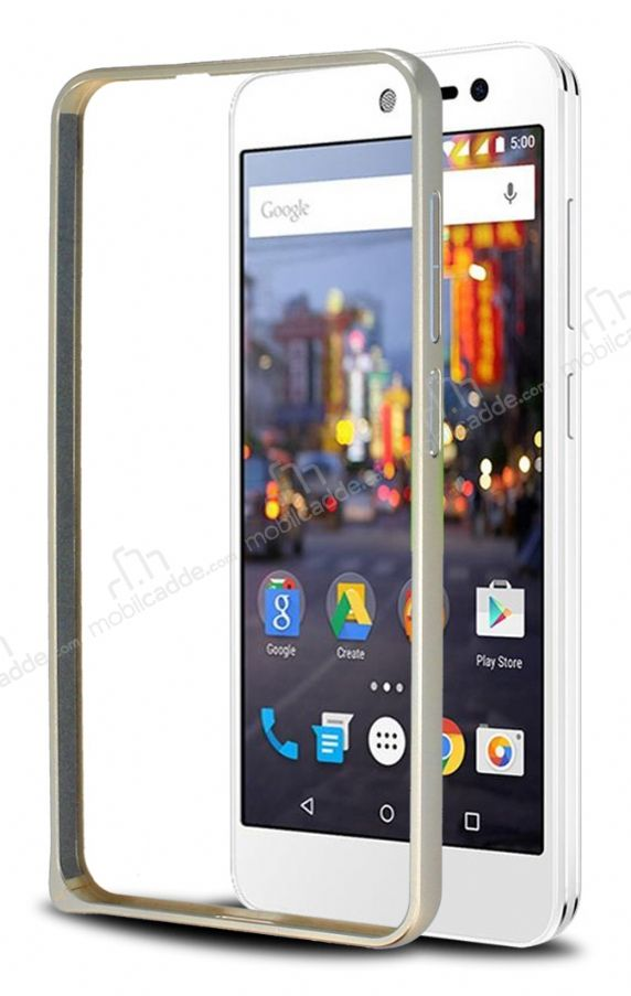 Eiroo General Mobile Android One Metal Bumper Çerçeve Gold Kılıf