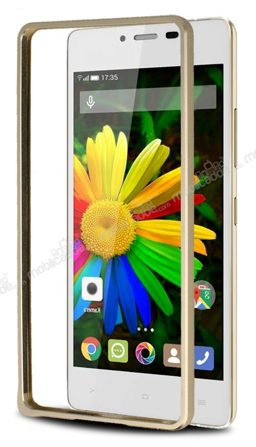 Eiroo General Mobile Discovery Air Metal Bumper Çerçeve Gold Kılıf