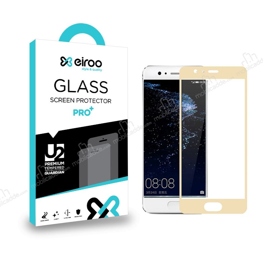 Eiroo Huawei P10 Curve Tempered Glass Full Gold Cam Ekran Koruyucu