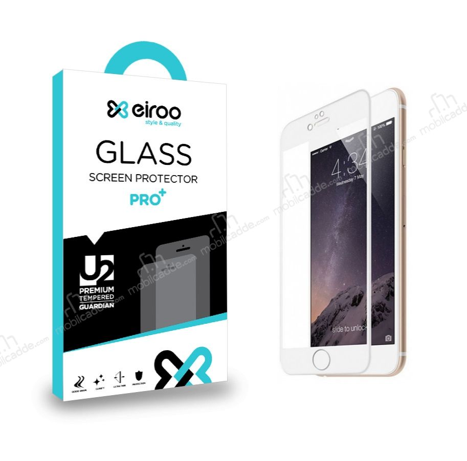 Eiroo iPhone 6 Plus / 6S Plus Curve Tempered Glass Full Beyaz Cam Ekran Koruyucu