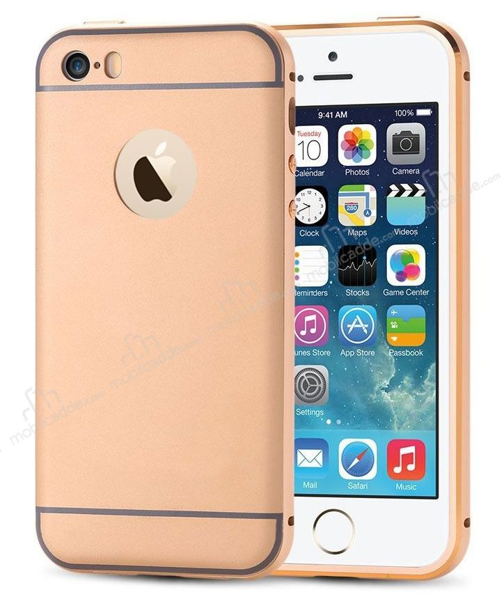 Eiroo iPhone SE / 5 / 5S Metal Kenarlı Gold Rubber Kılıf