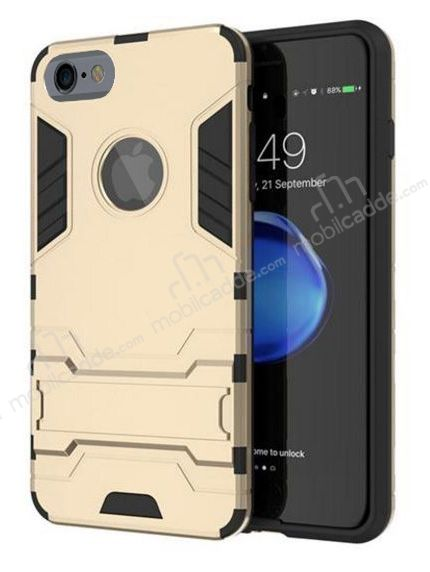 Eiroo Iron Armor iPhone 6 Plus / 6S Plus Standlı Ultra Koruma Gold Kılıf