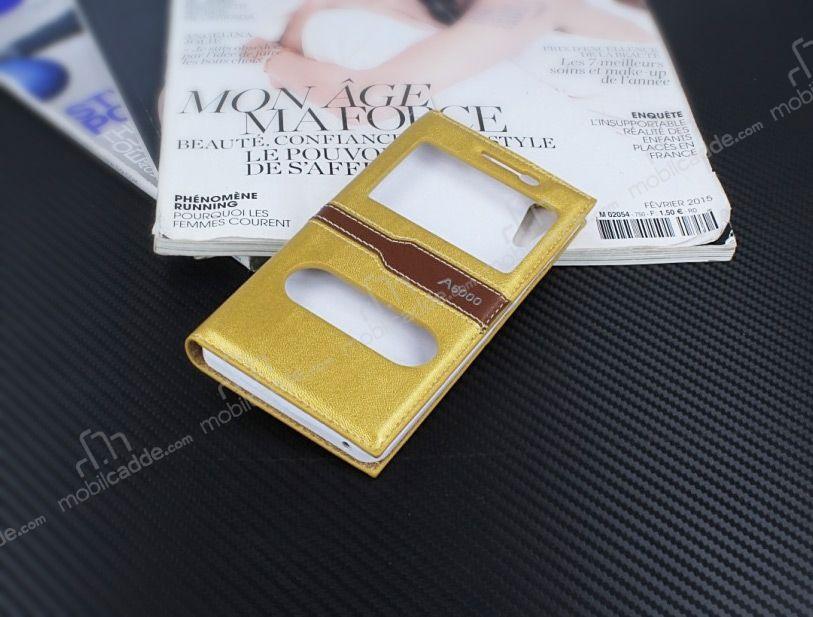 Lenovo A6000 Gizli Miknatisli Cift Pencereli Gold Deri Kilif
