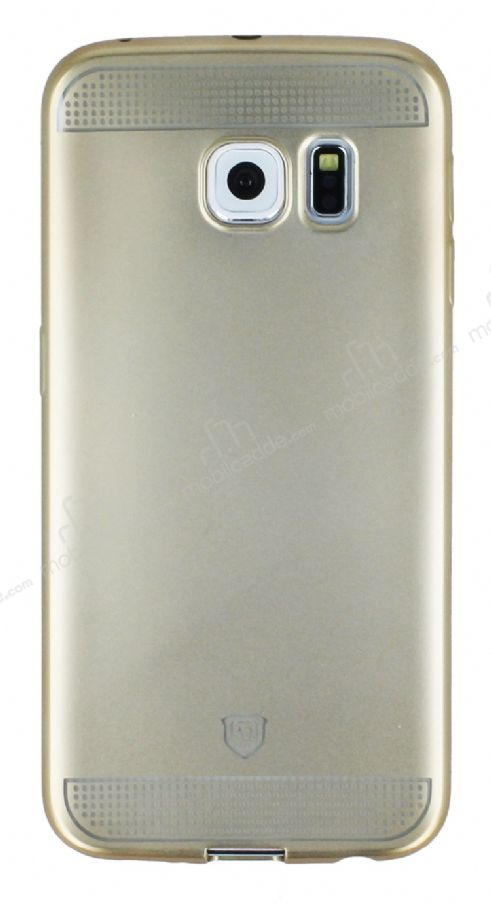 Eiroo Metallic Fit Samsung Galaxy S6 Edge Gold Silikon Kılıf