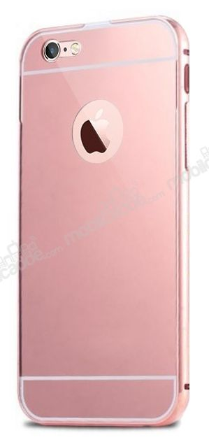 Eiroo Mirror iPhone 6 / 6S Metal Kenarlı Aynalı Rose Gold Rubber Kılıf
