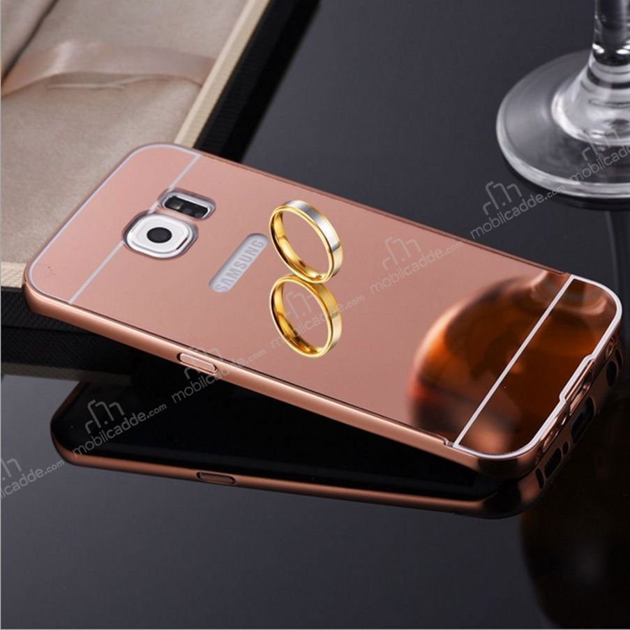 eiroo mirror samsung galaxy s7 edge metal kenarl aynal rose gold rubber k l f. Black Bedroom Furniture Sets. Home Design Ideas
