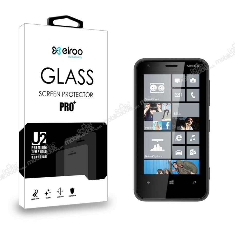 Eiroo Nokia Lumia 620 Tempered Glass Cam Ekran Koruyucu