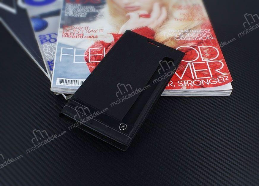 LG Stylus 2 Gizli Mknatsl Pencereli Siyah Deri Klf
