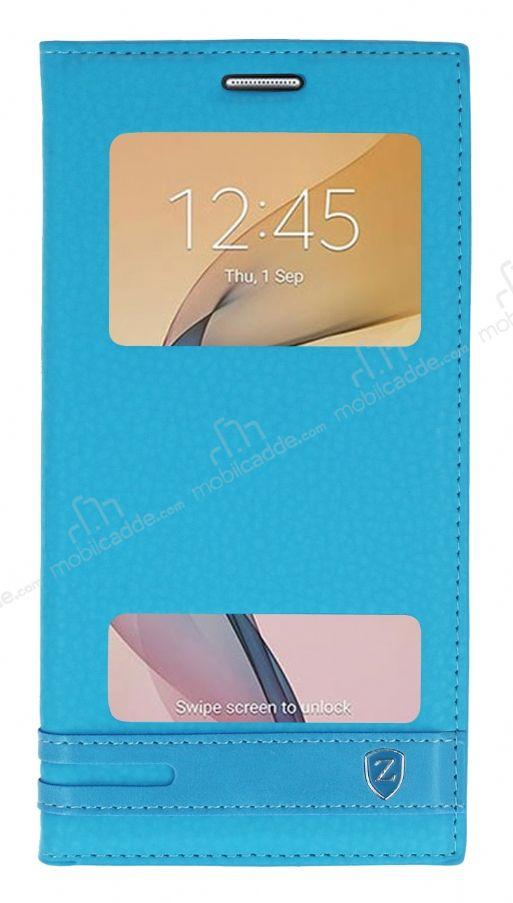 Samsung Galaxy J7 Prime 2 Gizli Mknatsl Pencereli Mavi Deri Klf