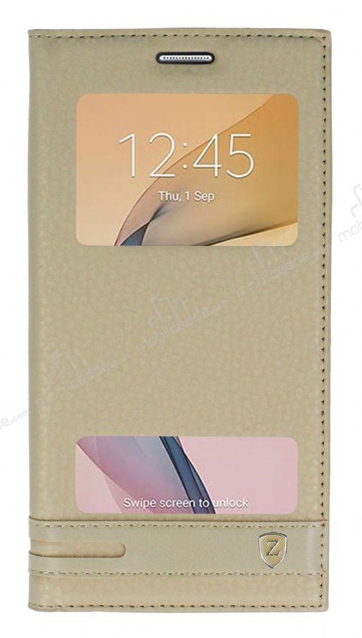 Samsung Galaxy J7 Prime 2 Gizli Mknatsl Pencereli Gold Deri Klf