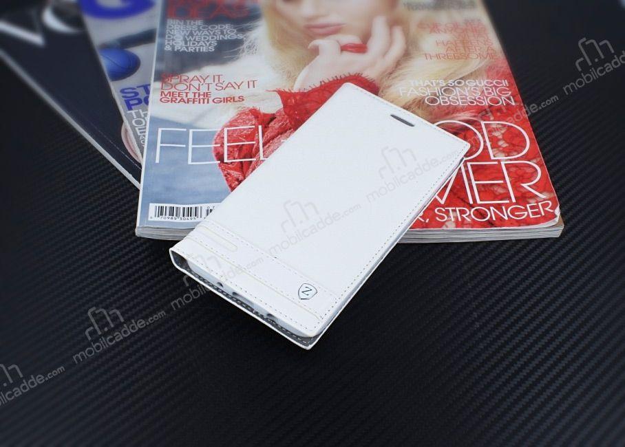 Samsung Galaxy J7 Prime 2 Gizli Mknatsl Yan Kapakl Beyaz Deri Klf