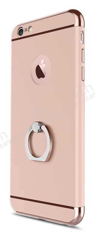 Eiroo Ring Fit iPhone 6 / 6S Selfie Yüzüklü Rose Gold Rubber Kılıf